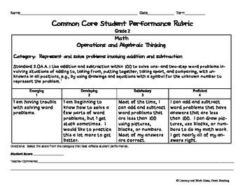 Common Core Math Rubrics:  Grade 2