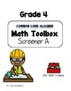 Common Core--Math Screeners--Grade 4  (set of 4)