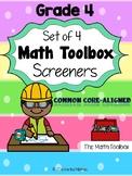 Common Core--Math Screeners--Grade 4  (set of 4)