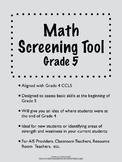Common Core Math Screening Assessment - Grade 5