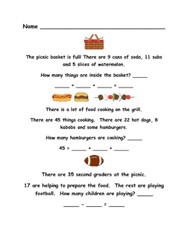 End of Year Math Review - Second Grade - Picnic Theme