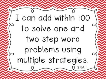 "Common Core Math Second Grade ""I Can"" Standards Chevron Theme"