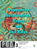Common Core Math: Slopes, Unit Rates and Proportional Rela