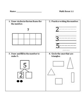 Common Core Math Spiral Review Boxes- Module 1
