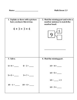 Common Core Math Spiral Review Boxes- Module 2