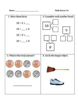Common Core Math Spiral Review Boxes for Module 3