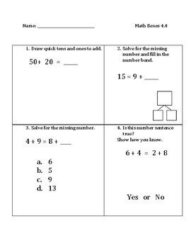 Common Core Math Spiral Review Boxes for Module 4