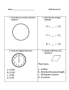 Common Core Math Spiral Review Boxes for Module 5