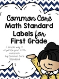 Common Core Math Standard Labels for First Grade