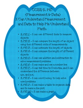 Common Core Math Standards 2nd Grade I Can Statments