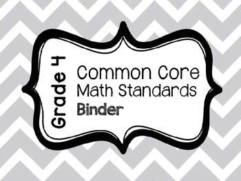 Common Core Math Standards Binder - Fourth Grade