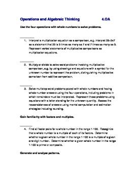 Common Core Math Standards Checklist Grade 4