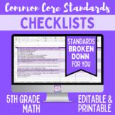 Common Core Checklist - Fifth Grade Math