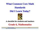 Common Core Math Standards Grade 6 Student Checklist