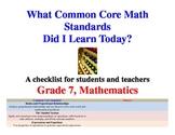 Common Core Math Standards Grade 7 Student Checklist