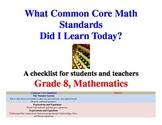 Common Core Math Standards Grade 8 Student Checklist