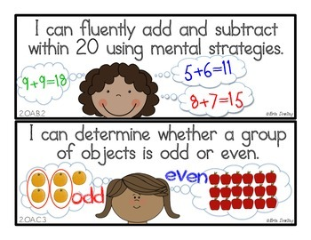 """Common Core Math Standards: """"I Can"""" Statements for Second Grade"""