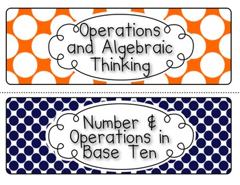 Common Core Math Standards Posters - Grade 5 (Orange and Navy, Auburn Colors)
