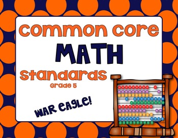 Common Core Math Standards Posters - Grade 5 (Orange and N