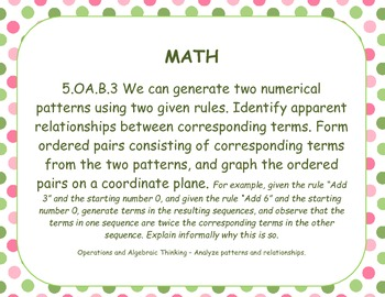 Common Core Math Standards Posters Grade Five