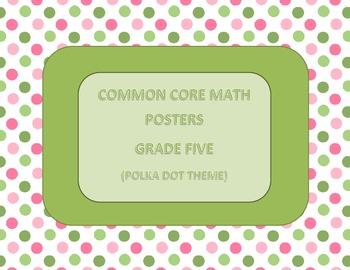 Common Core Math Standards Posters Grade Five