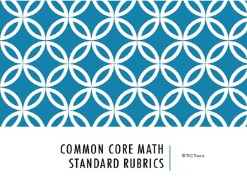 Common Core Math Standards Rubrics