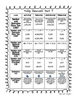 Common Core: Math Standards: Second Nine Weeks of Math Homework