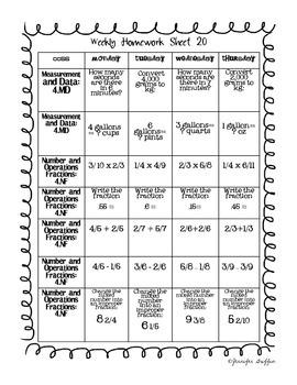 Common Core: Math Standards: Third Nine Weeks of Math Homework