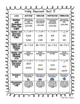 Common Core: Math Standards: Week 12 Math Homework