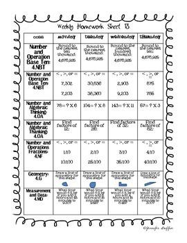 Common Core: Math Standards: Week 13 Math Homework