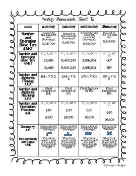 Common Core: Math Standards: Week 16 Math Homework