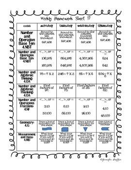Common Core: Math Standards: Week 17 Math Homework