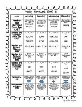 Common Core: Math Standards: Week 18 Math Homework