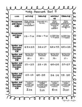Common Core: Math Standards: Week 19 Math Homework