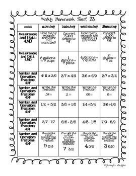 Common Core: Math Standards: Week 23 Math Homework