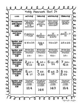 Common Core: Math Standards: Week 24 Math Homework