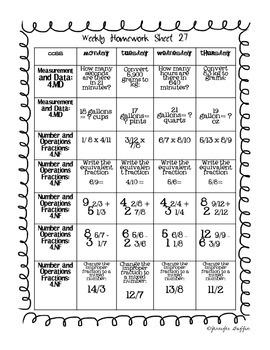 Common Core: Math Standards: Week 27 Math Homework