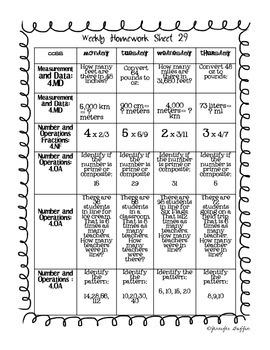 Common Core: Math Standards: Week 29 Math Homework