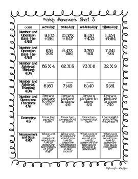 Common Core: Math Standards: Week 3 Math Homework