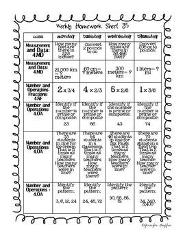 Common Core: Math Standards: Week 35 Math Homework