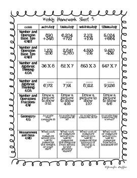Common Core: Math Standards: Week 5 Math Homework
