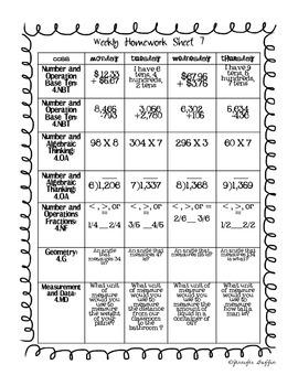 Common Core: Math Standards: Week 7 Math Homework