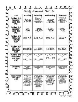 Common Core: Math Standards: Week 8 Math Homework