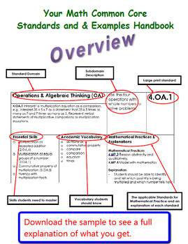 Common Core Math Standards and Examples Handbook - 6th Grade