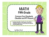 Common Core Math Standards and RTI Checklist Fifth Grade