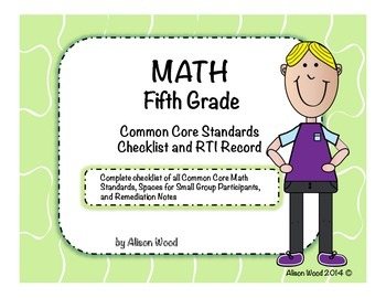Common Core Math Standards and RTI Checklist Fifth Grade