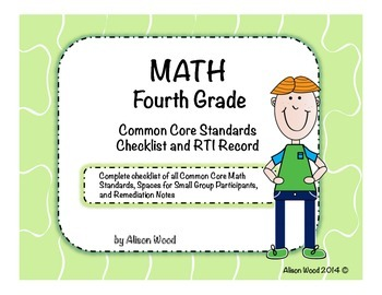 Common Core Math Standards and RTI Checklist Fourth Grade