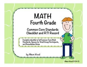 Common Core Math Standards and RTI Checklist Fourth Grade