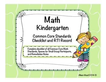 Common Core Math Standards and RTI Checklist Kindergarten