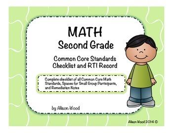 Common Core Math Standards and RTI Checklist Second Grade